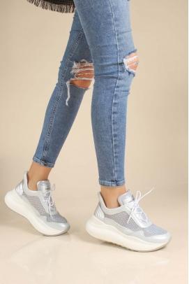 Hakiki Deri Buz Beyaz Kadın Sneaker Ayakkabı 009ZA756