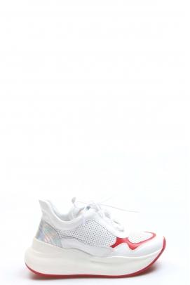 Hakiki Deri Beyaz Kırmızı Kadın Sneaker Ayakkabı 009ZA756