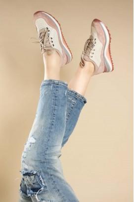 Hakiki Deri Pudra Pembe Kadın Sneaker Ayakkabı 009ZA653