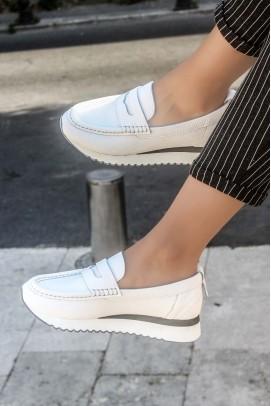 Hakiki Deri Beyaz Kadın Casual Ayakkabı 009ZA665