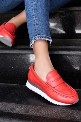 Hakiki Deri Kırmızı Kadın Casual Ayakkabı 009ZA665
