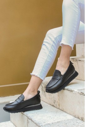 Hakiki Deri Siyah Kadın Casual Ayakkabı 009ZA851
