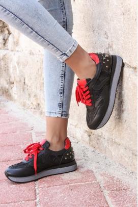 Hakiki Deri Siyah Kırmızı Kadın Sneaker Ayakkabı 009ZA923