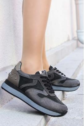 Hakiki Deri Siyah Gri Kadın Sneaker Ayakkabı 009ZA923