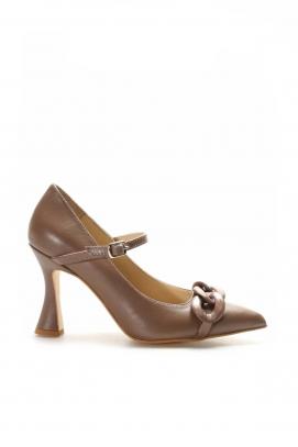 Hakiki Deri Toprak Kadın İnce Topuk Ayakkabı 019ZA21-472