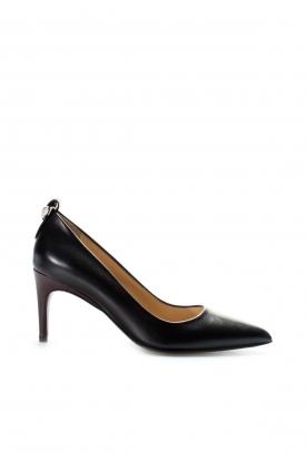 Hakiki Deri Siyah Bordo Kadın İnce Topuk Ayakkabı 019ZA21-499
