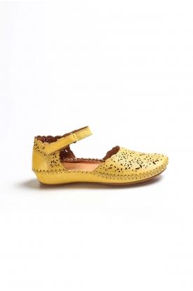 Hakiki Deri Sarı Kadın Serisonu Ayakkabı 046ZA208