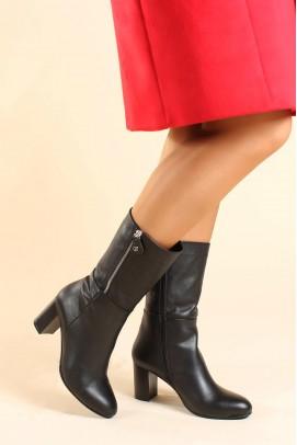 Hakiki Deri Siyah Kadın Yüksek Topuk Çizme 064SZA531