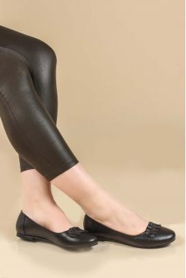 Hakiki Deri Siyah Kadın Babet Ayakkabı 064ZA826