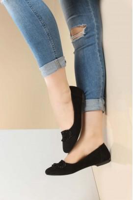 Hakiki Deri Siyah Süet Kadın Babet Ayakkabı 064ZA826