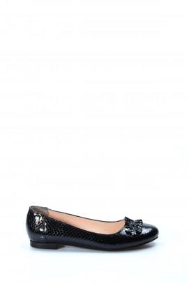 Hakiki Deri Siyah Kroko Kadın Babet Ayakkabı 064ZA826