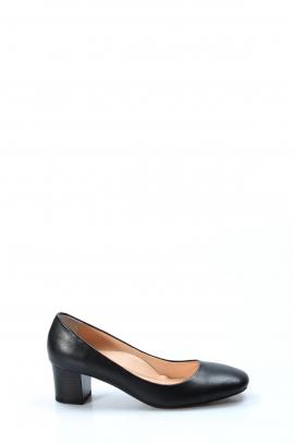 Hakiki Deri Siyah Kadın Kısa Topuklu Ayakkabı 064ZA970