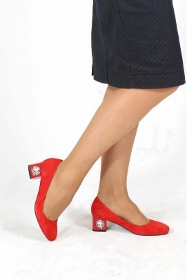 Hakiki Deri Kırmızı Süet Kadın Kısa Topuklu Ayakkabı 064ZA975