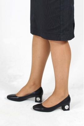 Hakiki Deri Siyah Kadın Kısa Topuklu Ayakkabı 064ZA975
