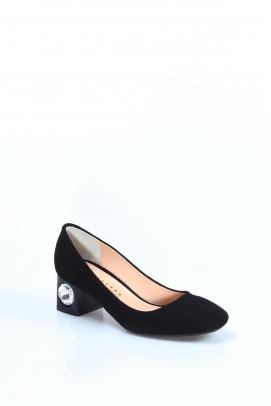 Hakiki Deri Siyah Süet Kadın Kısa Topuklu Ayakkabı 064ZA975