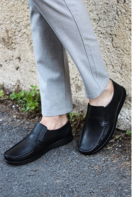 Hakiki Deri Siyah Erkek Loafer Ayakkabı 628MA08