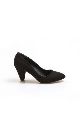 Siyah Süet Kadın Kısa Topuklu Ayakkabı 629ZA501