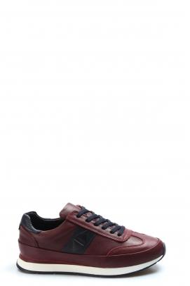 Hakiki Deri Bordo Erkek Günlük Spor Ayakkabı 723MA8119