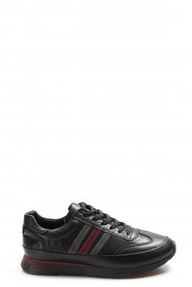 Hakiki Deri Siyah Erkek Günlük Spor Ayakkabı 723MA8125