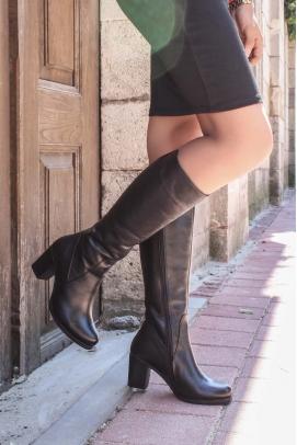 Hakiki Deri Kürklü Siyah Kadın Yüksek Topuk Çizme 757KZA5112