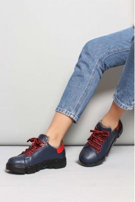 Hakiki Deri Kürklü Lacivert Kırmızı Kadın Casual Ayakkabı 827KZA8015