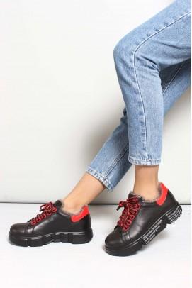 Hakiki Deri Kürklü 01-06 Sıyah Kırmızı Kadın Casual Ayakkabı 827KZA8015