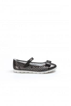 Hakiki Deri Sıyah Celık Saten Kız Çocuk Babet Ayakkabı 837FA04