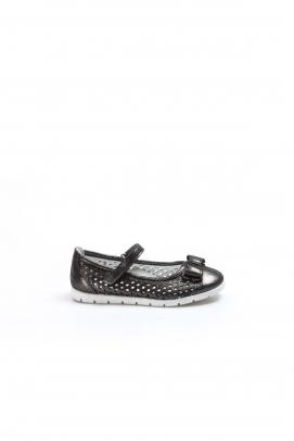 Hakiki Deri Sıyah Celık Saten Kız Çocuk Babet Ayakkabı 837PA04