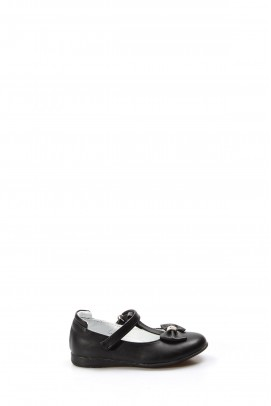 Hakiki Deri Siyah Kız Çocuk Babet Ayakkabı 837PA02