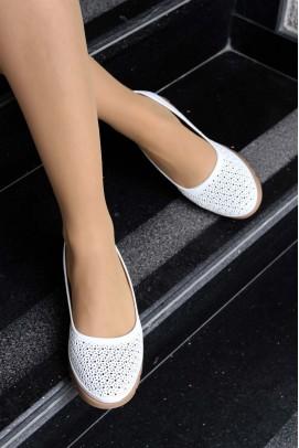 Hakiki Deri Beyaz Kadın Babet Ayakkabı 863ZA517