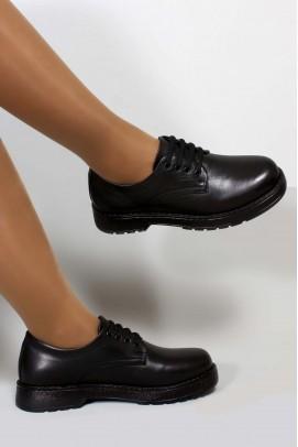 Hakiki Deri Siyah Kadın Casual Ayakkabı 863ZA411