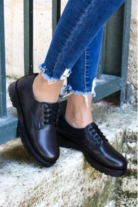 Hakiki Deri Kürklü Siyah Kadın Casual Ayakkabı 863KZA411