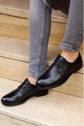 Hakiki Deri Kürklü Siyah Erkek Klasik Ayakkabı 867KMA201