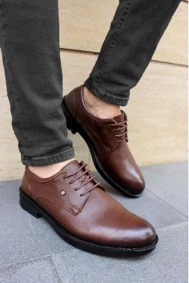 Hakiki Deri Kürklü Kahve Erkek Klasik Ayakkabı 867KMA201