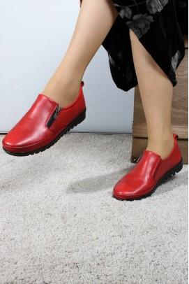 Hakiki Deri Kırmızı Kadın Casual Ayakkabı 881ZA1085