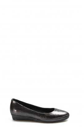 Hakiki Deri Siyah Saten Kadın Babet Ayakkabı 916ZA1205