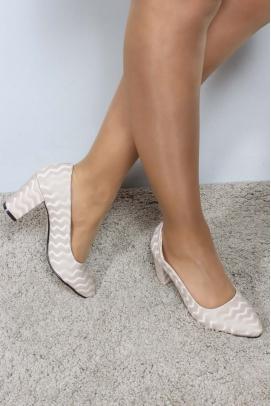 Bej Dalgalı Kadın Kısa Topuklu Ayakkabı 961ZA561