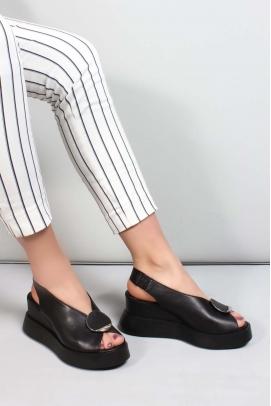 Hakiki Deri Siyah Kadın Dolgu Topuk Sandalet 965ZA2638