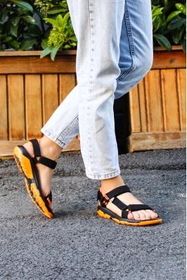Ortopedik Siyah Kadın Klasik Sandalet 981ZA9999