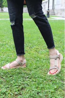 Ortopedik Vizon Kadın Klasik Sandalet 981ZA9999