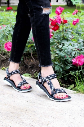 Ortopedik Sıyah Papatya Kadın Klasik Sandalet 981ZA9999
